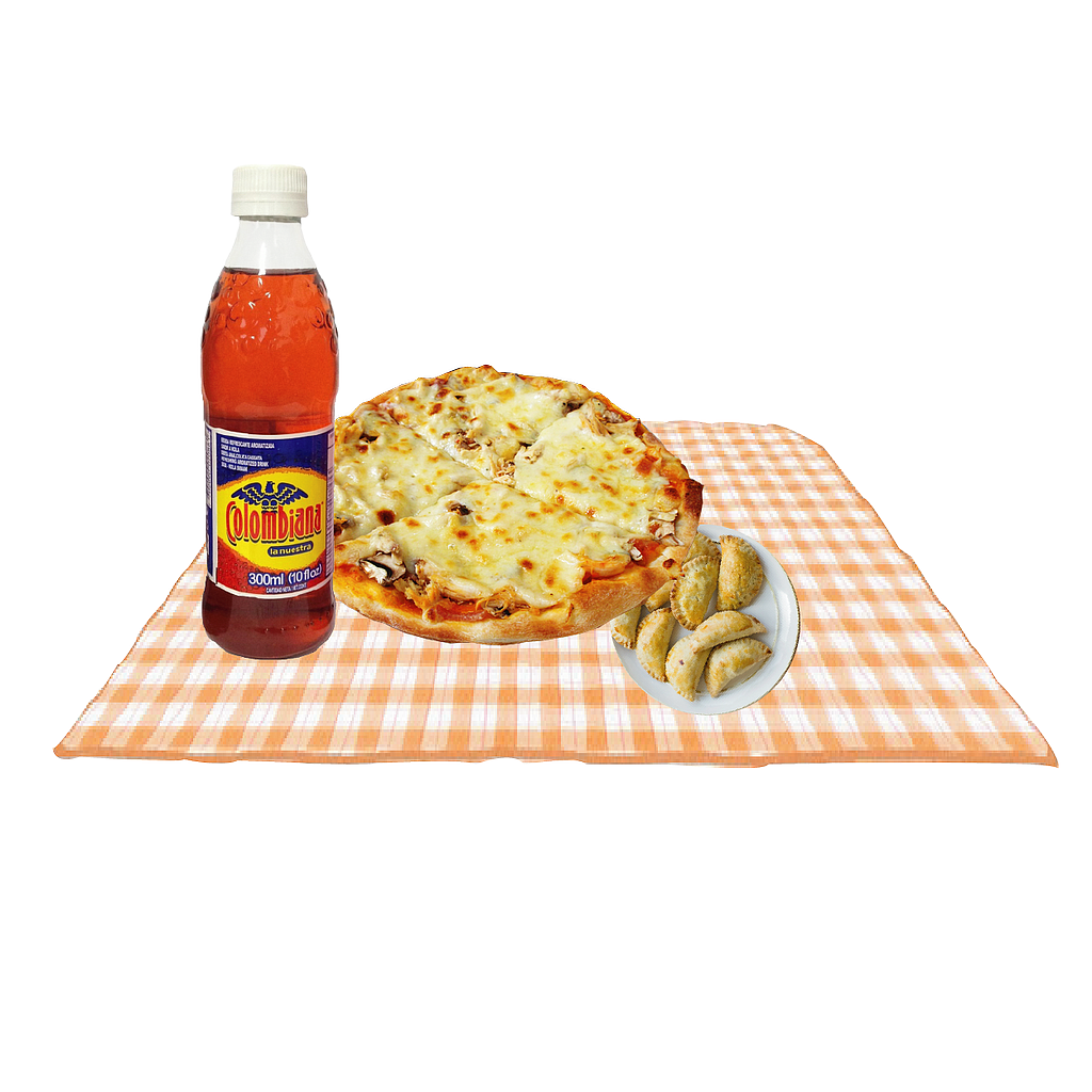 PLAT.COMBO 1PIZZA SMALL 2 INGREDIENTES+1 GASEOSA FRIO PACK+BORDE DE QUESO O EXTRA DE QUESO+4 MINI PANZEROTTIS